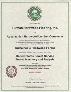 Certificate - Sustainable Hardwood Forest